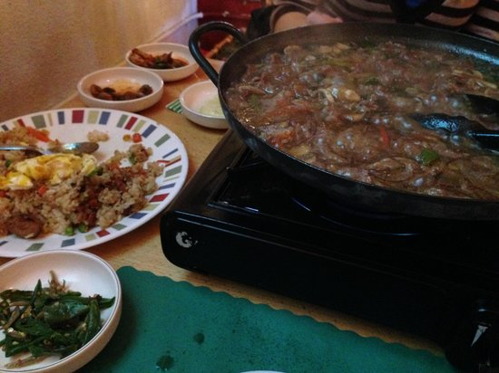 Seoul Korean Restaurant: This is hot plate No.1. It had onions, mushrooms, beef, noodles and other yummy ingredients!