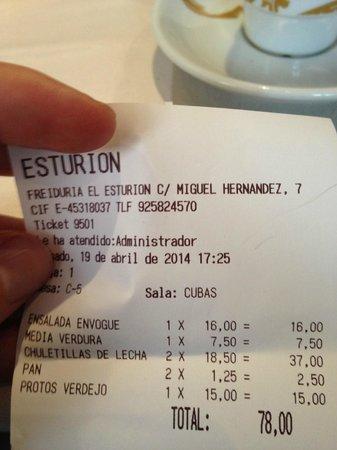 El Esturion: Cuenta