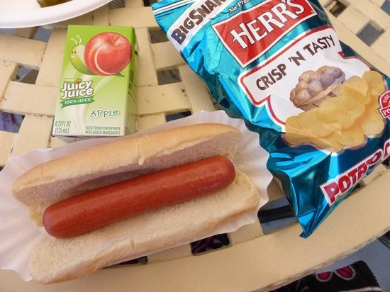 Milburn Orchards Ice Cream & Lunch Deck: Milburns Lunch Deck Hotdog, juice box, chips