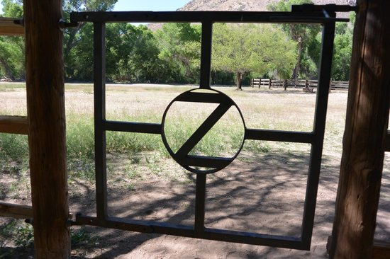 Circle Z Ranch: View of Circle Z Mountain and gate to Corral