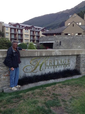 In front of the Heritage Queenstown Hotel