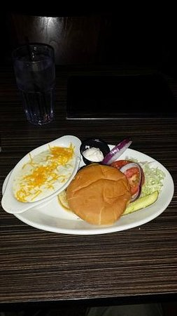 Chappys Tap Room and Grille: A burger with assorted toppings and a side of whipped potatoes