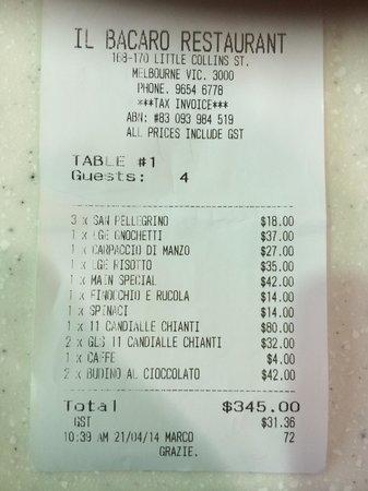 Il Bacaro Cucina e Bar: The Bill