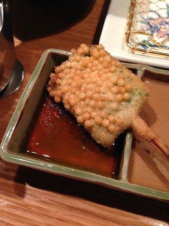 Kushikatsu Bon: green beans coated in rice puffs