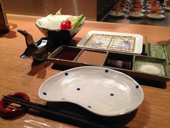 Kushikatsu Bon: the table setting