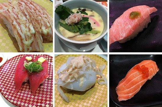 Genki Sushi, Shibuya: A selection of nigirizushi and the chawanmushi