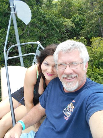Rainforest Bobsled Jamaica at Mystic Mountain: fun with my hubby!