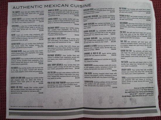 Monicos Taqueria : Monicos menu inside