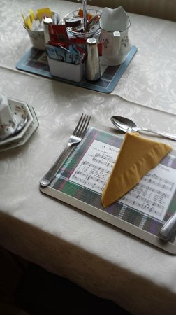 Valhalla Bed & Breakfast: Charming placemat with auld lang syne