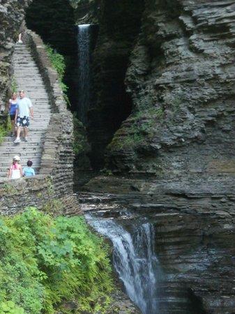 Watkins Glen State Park: Steps alongside falls