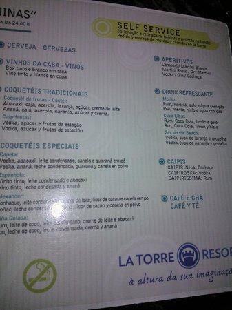 Resort La Torre: Cardápio