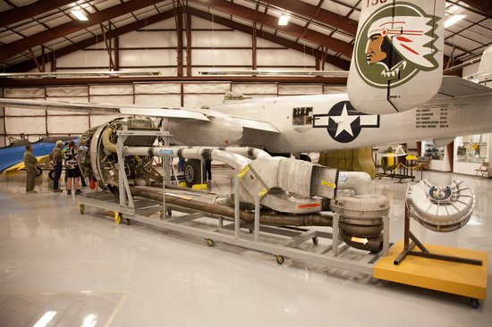 National Museum of World War II Aviation: P-47 Drive Train.  Engine to the left Turbo to the right
