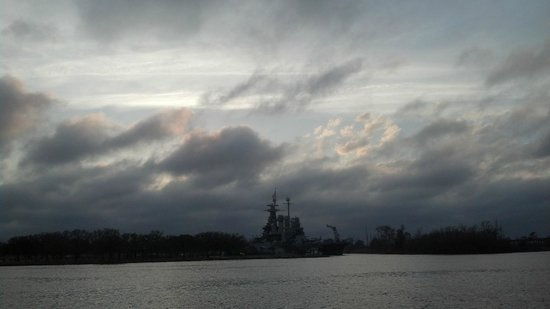 Riverwalk: Battleship across the river