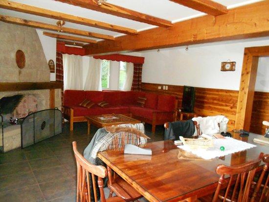 Hotel Villa Huinid Bustillo: sala de estar de la cabaña, vista desde la puerta