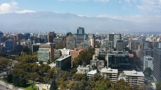 Sheraton Santiago Hotel and Convention Center: High View of Downtown Santiago with Mountains