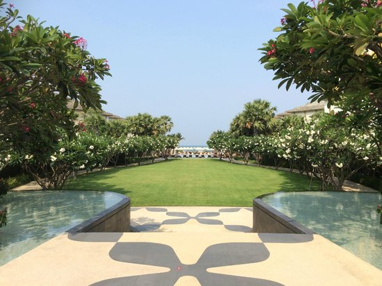 InterContinental Hua Hin Resort: From the main hotel out over the lawn, pools in the distance.