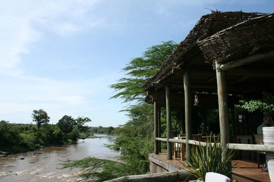 Sanctuary Olonana: The dining room has its own sound effects from the hippos in the river below.