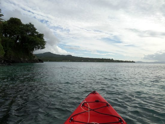 Coconut Grove Beachfront Cottages: Kayaking from the resort