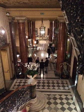 The St. Regis Rome : View of the lobby from the stairs. Left will lead you to lobby and right side is the main entran