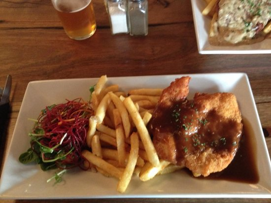 Chicken Schnitzel With Gravy Chips Salad Picture Of Paddy S Kalgoorlie Boulder Tripadvisor