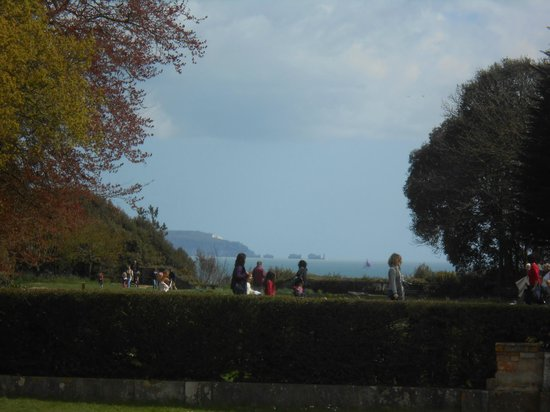 Highcliffe Castle: View from the grounds to the Needles