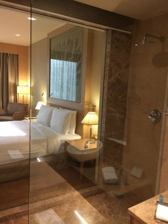 Bathroom With Clear Glass Window Looking Into Bedroom Picture Of Radisson Blu Hotel New Delhi