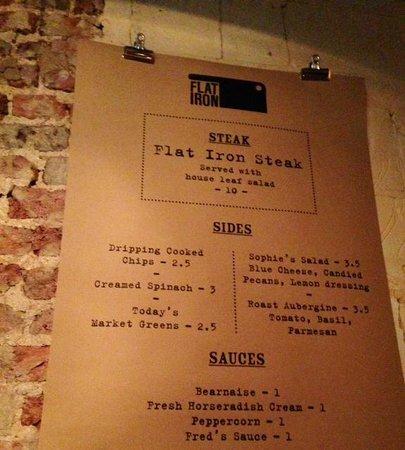 Flat Iron Restaurant Menu