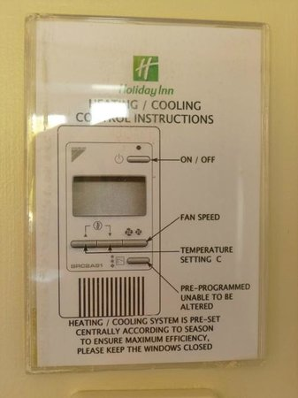 Holiday Inn Cardiff City Centre: Heating control notice