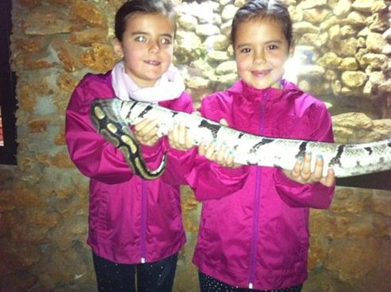 Castellar de la Frontera, Spain: The twins holding a python