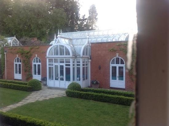 Tylney Hall: view from room of indoor pool