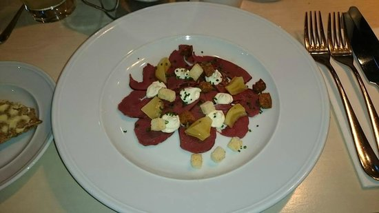 Tradition: Smoked venison and horseradish with pickled beet