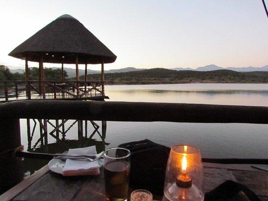 Buffelsdrift Game Lodge Restaurant : Looking out across dam