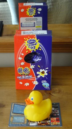 Chester House Hotel: Easter egg, rubber duck and postcard gift from hotel