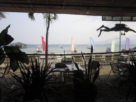 Johan's Beach Resort: view from inside restaurant