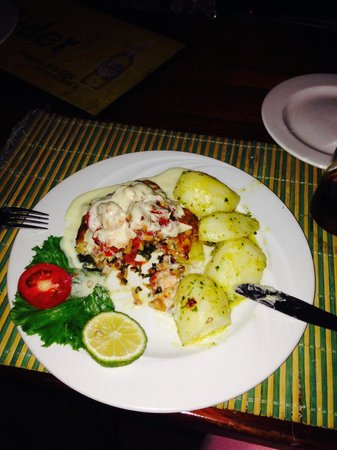 Captain Hook's: Grouper stuffed with prawn or lobster, was delicious