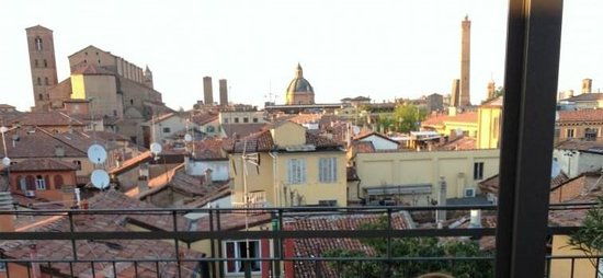Hotel Touring: View of Bologna from the rooftop terrece.
