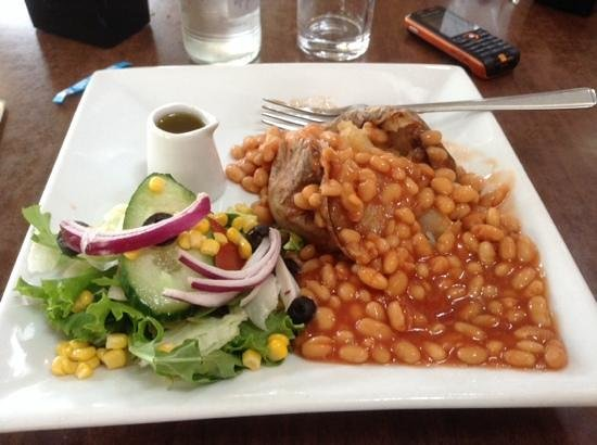 The Terrace Cafe: Jacket Potato with beans is served with side salad