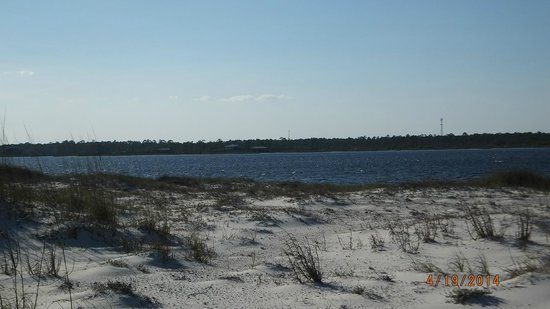 Gulf Islands National Seashore - Florida District: beach on bay side (Big Lagoon State Park in the distance)
