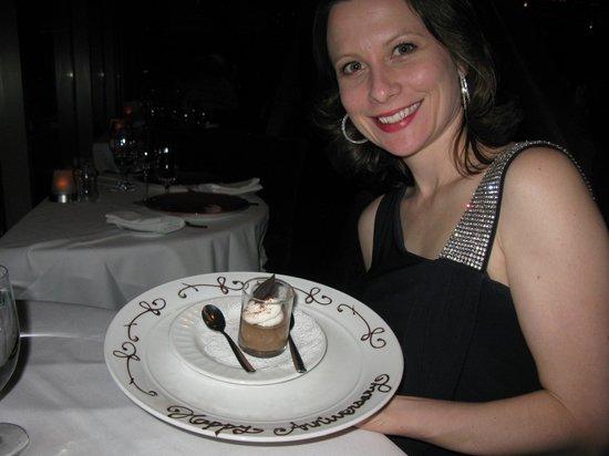 Eiffel Tower Restaurant at Paris Las Vegas : Anniversary dessert on the house