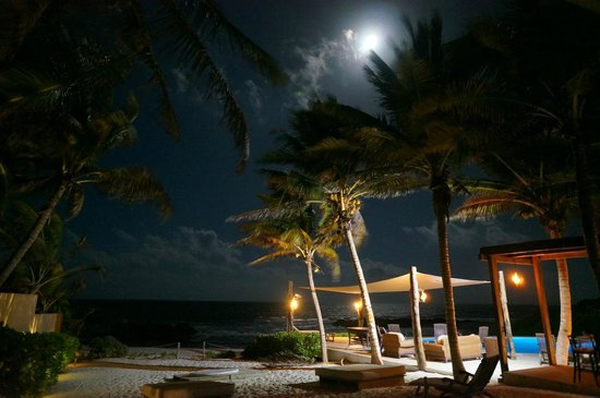 Playa La Media Luna Hotel: Night view from bungalow