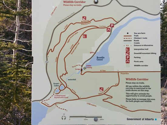 Grassi Lakes: Map at the top