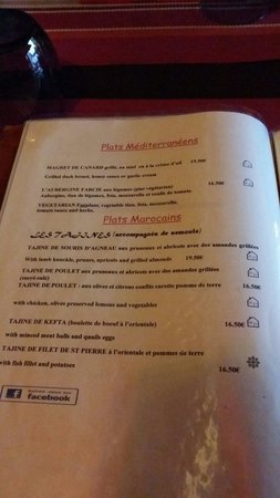 Restaurant la Medina : Autre partie du menu