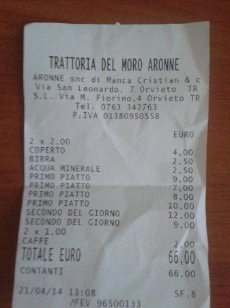 """Trattoria del Moro - Aronne : VOCE """"COPERTO"""" SUL CONTO FINALE"""