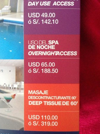Costa del Sol Wyndham Lima Airport: Spa rates