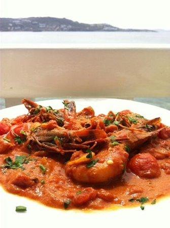 Katerina's Bar: shrimp in tomato-feta sauce