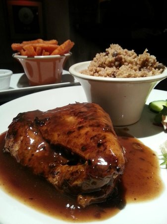 Westcoast Bar & Grill: Jerk Chicken, Rice & Peas Sweet potato fries