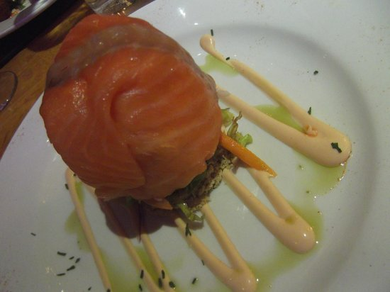 Old Barn Steakhouse: Prawn and salmon timbale! What a starter!