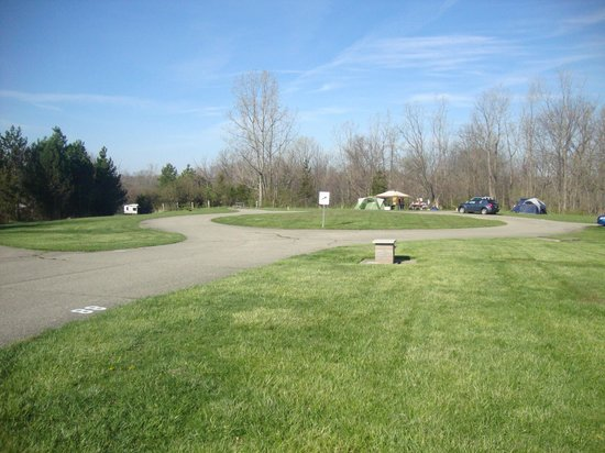 Caesar Creek Lake: Most of the campground areas end in loops like this one.
