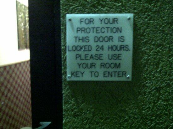 Super 8 Huron: No lock in 24-hour security door