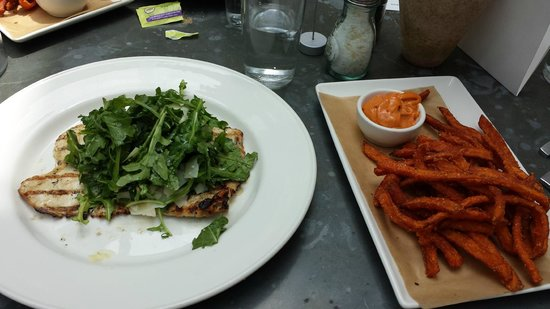 Chicken Paillard With Arugula Salad And Crispy Sweet Potato Fries Picture Of Oxford Exchange Tampa Tripadvisor